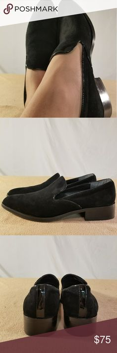 Brand New Donald J Pliner Black Suede Loafers These Heeled loafers are Brand New/Never Worn and are in Perfect Condition. The heel hieght of this shoe is 2 inches tall. You might also call this shoe something else. Donald J. Pliner Shoes Flats & Loafers