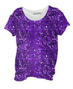 Sparkling Purple Mosaic Pattern Drape Shirt