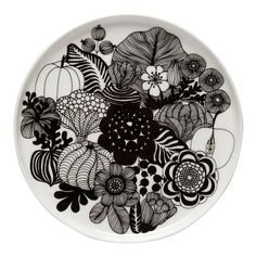 Siirtolapuutarha tallerken rund Ø 20 cm,Hvit/Sort - Marimekko @ Marimekko, Black And White Plates, Black And White Design, Black White, Black Bolt, Small Plates, Decorative Plates, Ceramic Tableware, Ceramic Decor