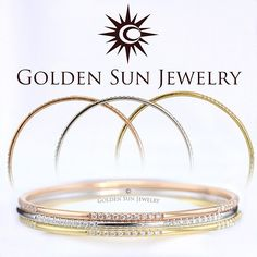GOLDEN SUN JEWELRY: For the ladies. Tricolor diamond bangle bracelet set. Perfect as a set together or wear them individually! Simple. Elegant. Beautiful. We also make these with diamonds all the way around! #detroitbride #theknot #justmarried #rock #ring #married #wife #bride2bride #bride #diamondbracelet #bracelet #bangle #tricolor #elegant #luxury