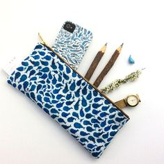 Gadget Bag Pencil Pouch Companion Case Planner Case Padded Sweet Blooms on Blue