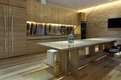 décoration de cuisine en bois avec éclairage LED