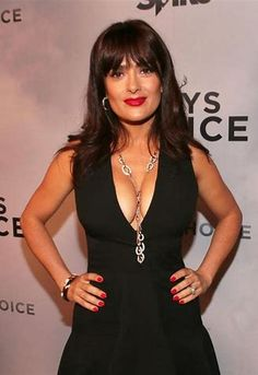 Taking the plunge: Salma Hayek showed off plenty of cleavage at the Spike TV Guys Choice Awards on Saturday night Salma Hayek Body, Salma Hayek Bikini, Over 40 Hairstyles, Salma Hayek Pictures, Beauty Over 40, Spike Tv, Low Cut Dresses, Celebs, Celebrities