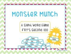 These Monsters Love to eat SIGHT Words! Use this game as a center or small group activity. Students will Use their sight word skills to play this fun and exciting game. Monster Munch is the perfect way to get your students excited about knowing their sight words!