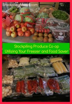 Stockpiling Produce Co-op - Utilizing Your Freezer and Food Saver. Since we live in a place where fresh produce doesn't stay fresh long or when produce just isn't available we are def gonna be using a food saver wayyyy more! Plus I am experimenting on using the food saver to prep an store pre-measured greens an veggies, carrots, and apples for my green smoothies for the week!