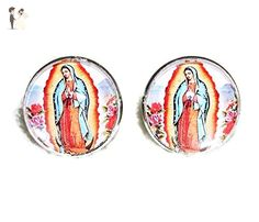 VIRGIN OF GUADALUPE CUFFLINKS OUR LADY SILVER PLATED CUFF LINKS WITH GLASS DOME COVER - Groom cufflinks and tie clips (*Amazon Partner-Link)