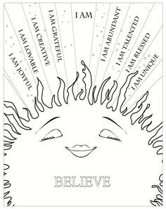 Affirmations colouring sheet!