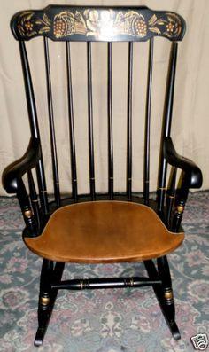 VINTAGE Hitchcock Black Harvest Stenciled Windsor Style Rocker, Rocking  Chair