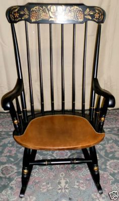 VINTAGE Hitchcock Black Harvest Stenciled Windsor Style Rocker, Rocking  Chair
