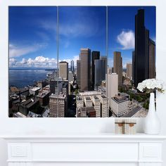 Designart 'Seattle Downtown from Smith Tower' Extra Cityscape Wall Art on Canvas