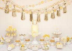 Lemon & Gold dessert table