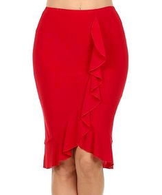 One Fashion Red Ruffle Pencil Skirt | zulily