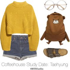 Coffeehouse Study Date: Taehyung by btsoutfits on Polyvore featuring H&M, Birkenstock and Wrangler