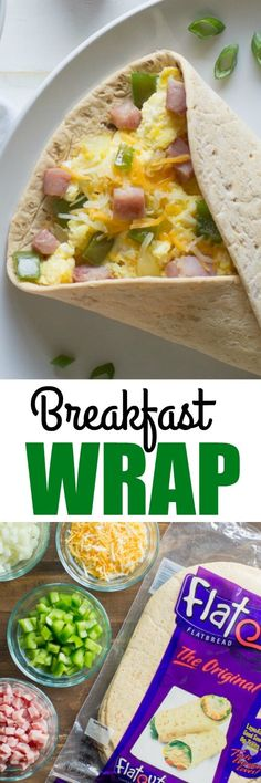 I am bad at making omelettes, but I love making breakfast wraps with scrambled eggs! I filled this Denver Omelette Breakfast Wrap with ham, cheese, peppers, and onions.