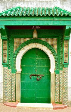 Tangier, Morocco. Love the emerald green. Front door color
