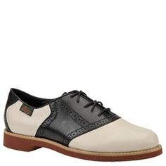 Bass Women's Enfield Saddle Shoe in Sand.  Available in wide widths.  I love to juxtapose menswear-inspired items like these with frilly dresses and skirts.