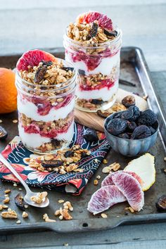 {Blood orange, raspberry and coconut yoghurt with granola.} vanilla almond, almond fig, almonds, breakfast, food, fig granola, coconut milk, granola parfait, blood orange
