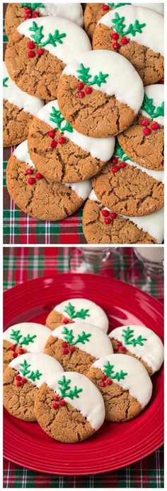 White Chocolate Dipped Ginger Cookies Ingredients 2 cups all-purpose flour 1 tsp baking soda tsp salt 2 . Holiday Cookies, Holiday Desserts, Holiday Baking, Holiday Treats, Holiday Recipes, Xmas Food, Christmas Sweets, Christmas Cooking, Biscuits