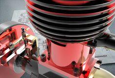 Model gas engine, närbild. Ritning från Hobbyförlaget.