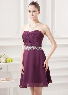 A-line Grape Chiffon Beading Sweetheart Neck Short Cocktail Dress. See More A-line at http://www.ourgreatshop.com/A-line-C959.aspx