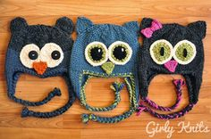 "Knitting Pattern Name: ""Owl Be There"" Pattern by: Lauren Riker"