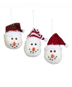 Snowman Santa Hat Ornament Balls - Set of Three #zulily #zulilyfinds