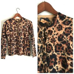 Carole Little cardigan Animal print. Used condition. Overall everything if in good condition. Some pilling. 70% lambs wool, 30% angora, 10% nylon. Sweaters Cardigans
