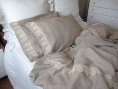 Taupe camel brown linen Queen duvet cover elegant bedding with 2 pillow cases cotton lace trim