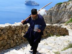 Monastery of Panagia Hozoviotissa - walking to the hill - Amorgos island, Greece St Columba, Early Church Fathers, Walking Paths, Types Of Photography, Once In A Lifetime, Kirchen, Greek Islands, Greece Travel, Albania