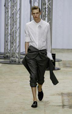 fashionloveskarl:Adrian Bosch at Juun J Spring Summer 2009  Genius. Double that shirt wrap the jacket. DGAF
