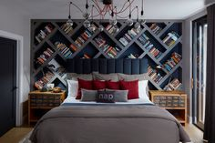 A Look Back at Our Favorite Rooms of 2017   Interior Design by Emily Mackie   Photography by Dustin Halleck   Modern Sanctuary   Bedroom Inspiraiton   Masculine Bedroom   Blue Bedroom   Lighting Inspiration   Modern Lighting