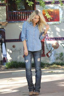 Indigo Snap Shirt by CRUEL GIRL - This chambray denim shirt is super cute when layered with a tee or tank.