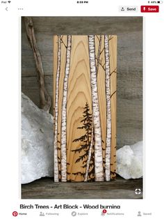 Birch Trees Art Block Wood burning -- with a little paint and Dakota& wood burning, we could totally make this! Birch Trees Art Block Wood burning -- with a little paint and Dakotas wood burning, we could totally make this! Wood Burning Crafts, Wood Burning Patterns, Wood Burning Art, Wood Crafts, Wood Craft Patterns, Art Crafts, Woodworking Furniture Plans, Woodworking Projects That Sell, Kids Woodworking