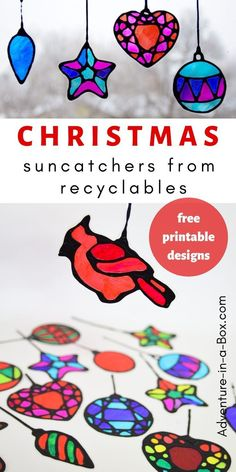 Make stained glass Christmas suncatchers from recyclables with kids! This winter craft comes with four pages of Christmas ornament free printable templates and makes for a quick and easy way to decorate windows. #kidscrafts #upcycling #christmasdecor