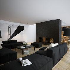 Black white living room mural art