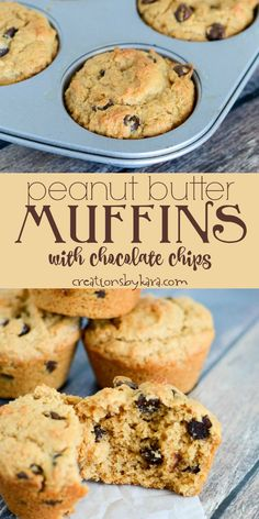 for Peanut Butter Muffins with Chocolate Chips - an easy, tasty muffin recipe. Peanut butter fans will love these muffins!Recipe for Peanut Butter Muffins with Chocolate Chips - an easy, tasty muffin recipe. Peanut butter fans will love these muffins! Simple Muffin Recipe, Muffin Tin Recipes, Baking Recipes, Cookie Recipes, Dessert Recipes, Snack Recipes, Peanut Butter Muffins, Healthy Peanut Butter, Chocolate Peanut Butter