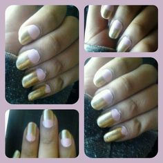 Pink and gold half moon nail design.