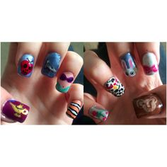 Disney themed nails: From thumb to thumb: aladdin's lamp, snow white's poison apple, cinderella's glass slipper, ariel's outfit, nemo print, beast's dying rose, Dalmatian spots, Alice's white rabbit with pocket watch, aristocat Marie's bow, rafiki's simba drawing! I quite like Disney... ^_^