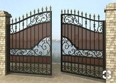 Grill Gate Design, House Main Gates Design, Steel Gate Design, Front Gate Design, Door Gate Design, House Front Design, Wrought Iron Driveway Gates, Iron Garden Gates, Wrought Iron Gate Designs