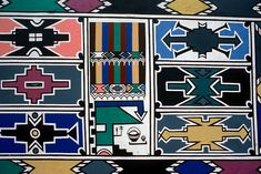 """""""Ndebele [South Africa] women paint colorfully with the original geometrical pattern on the wall of their houses. These beautiful patt. Zimbabwe, African House, African Colors, African Art Paintings, Ethnic Patterns, African Patterns, African Tribes, African Textiles, Tribal Art"""
