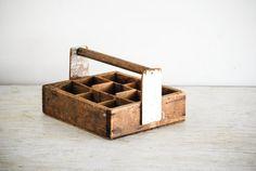 legno caddy, strumento in legno, tote caddy, scatola legno con maniglia, compartimenti separati, primitivo, vintage