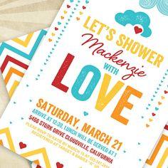 Retro Rainbow Baby Shower  CUSTOM PRINTABLE Invitation by HWTM, $16.50