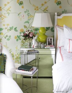 Pete and Bailey McCarthy's Houston abode (Matchbook Feb photograph by Emily Anderson) green and yellow floral wallpaper bedroom Yellow Home Decor, House Inside, Beautiful Bedrooms, Inspired Homes, Home Bedroom, Bedroom Ideas, Master Suite, Beach House, Mirrored Furniture
