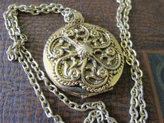 "OCTOPUS Design LOCKET with 24"" Chain Antiqued and Polished Gold Tone Finish Unmarked Ladies Collectible All Occasion Gift  New Old Stock by GrammiesCupboard on Etsy"