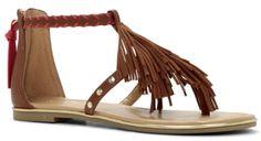 Sandales plate marron à franges, Aldo