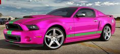 My dream car right here!!!! Lime green  hot pink mustang!!!