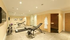 Home Gym Ideas Luxury Basement Gym Design Ideas - like the sauna + shower