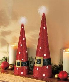 Add some sparkle to your home with the Tree-Shaped Holiday Decor. Glittery metal cones feature bright and iconic designs. Each is topped with a fuzzy, whi Diy Christmas Decorations Easy, Mini Christmas Tree, Christmas Crafts For Kids, Christmas Projects, Holiday Crafts, Christmas Holidays, Christmas Ornaments, Holiday Decor, Theme Noel