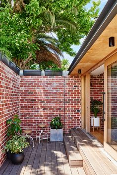 Red brick paving from the backyard has been recycled and now used as an internal feature wall and an external brick wall. Red Brick Paving, Brick Courtyard, Brick Fence, Brick Facade, Red Brick Exteriors, Brick Accent Walls, Red Brick Walls, Exposed Brick Walls, Exposed Beams