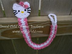 """Kitty Pacifier holder : Get your baby ready and cute, don't loose that precious pacifier. Materials: 100% washable cotton Size: One size fits all Dimensions: Approx. between 10""""-12"""" long Attached with a badge holder clip one of the strongest grippers. $12"""